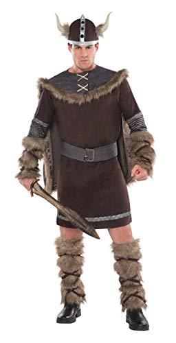 Amscan 997044 - Erwachsenenkostüm Viking Warrior, Tunika, Helm, Umhang, Beinstulpen, Wikinger