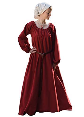 Battle-Merchant Mittelalter Kleid Ana Damen | Wikinger Kostüm Langarm bodenlang Baumwolle | LARP Gewandung, rot, Gr. M