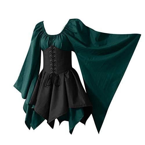 YZWC Damen Mittelalter Kleid mit Trompetenärmel Gebunden Taille Gothic Retro Midi Kleid Renaissance Cosplay Kostüm...