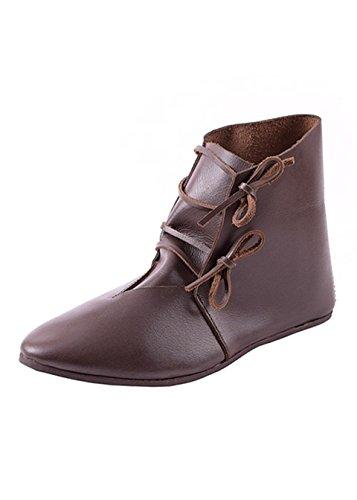 Ulfberth Mittelalterliche Schnürschuhe aus Leder, Dunkelbraun - Mittelalter - LARP - Wikinger Schuhe Schuhgröße 45