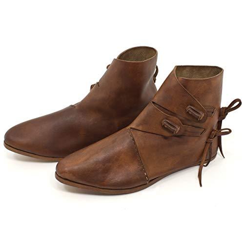 Wikinger Schuhe oder Mittelalter Schuhe für Damen und Herren Dunkelbraun Gr. 45
