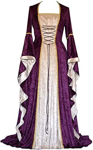 Geplaimir Mittelalter Kleidung Damen Renaissance Kostüme Samt Kleid für Halloween Fasching Karneval Hexe Vampire...