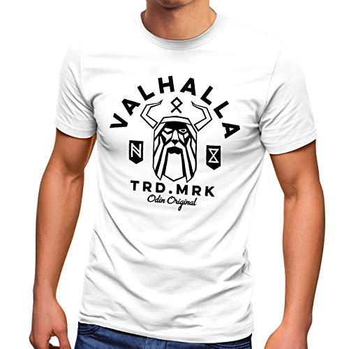 Neverless Herren T-Shirt Valhalla Odin Runen Wikinger Fashion Streetstyle weiß M
