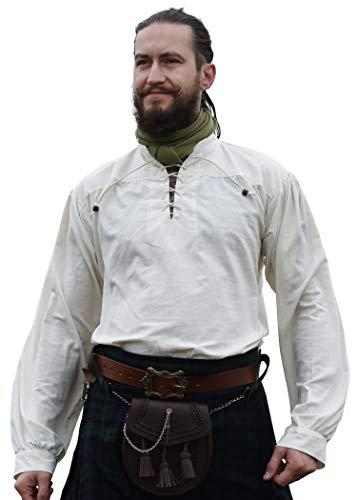 Battle-Merchant Mittelalter-Hemd Ludwig LARP Wikinger Kleidung Herren Natur, XL