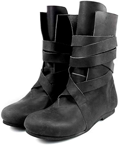 Leonardo Carbone Mittelalter Haithabu-Stiefel Wikinger aus Nubukleder 46/schwarz