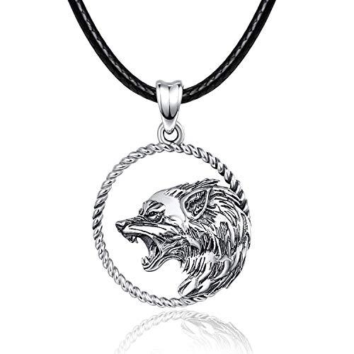 Wolf Halskette/Kette 925 Sterling Silber Wolf Anhänger Wikinger Schmuck Geschenke Wolf Geschenke für Männer Frauen...