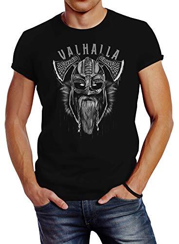 Neverless T-Shirt Aufdruck Valhalla Wikinger Helm Viking Odin Krieger Printshirt Fashion Streetstyle schwarz XL