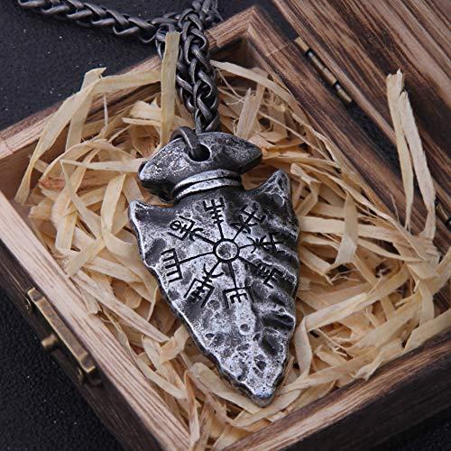 Herren Viking Compass Vegvisir Spear Anhänger Halskette, Nordic Runic Compass Symbol Totem Pagan Amulett,...