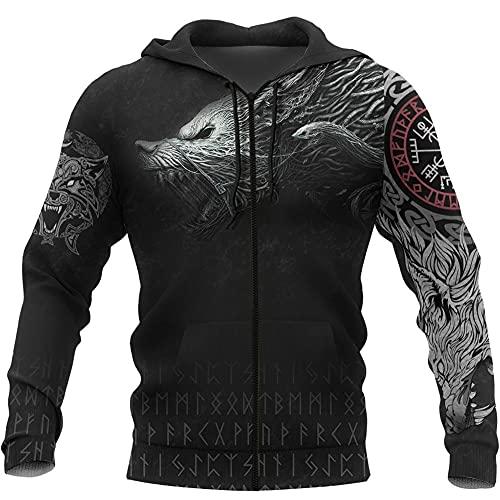 Nordische Mythologie Kostüm, Wikinger 3D-Druck Wolf Fenrir Totem Tattoo Hoodie T-Shirt Reißverschluss Unisex Amulett...