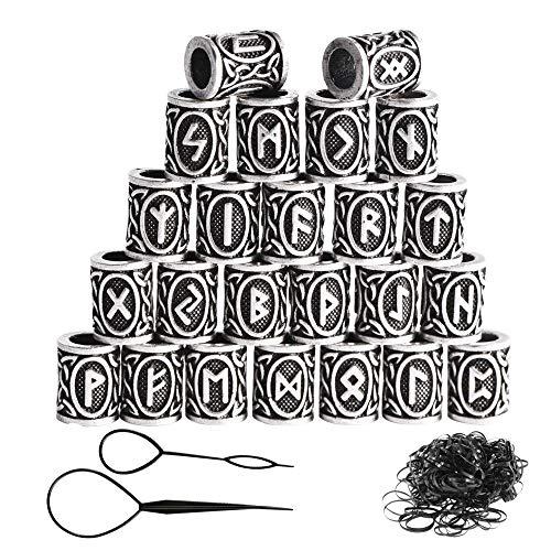 zooting 24 Stücke Wikinger Rune Perlen Und Schwarz Gummibänder Set Zubehör Für Flechten Armband Halskette, DIY Groß...