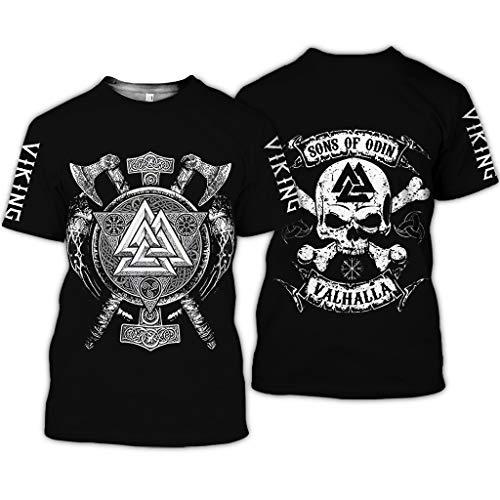 BBYOUTH Wikinger T-Shirt, 3D Bedruckter Nordischer Mythos Thor Hammer Fenrir Wolf Tattoo Kurzarm Cosplay Shirt (11 USA...