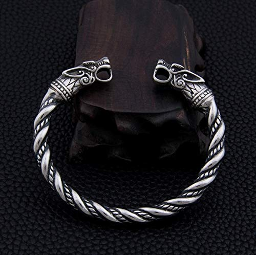 Vikings Wikinger Armreif aus Edelstahl'Fenrir', 7mm Durchmesser für Armgrösse 5,5cm bis 8cm Durchmesser | Thor |...