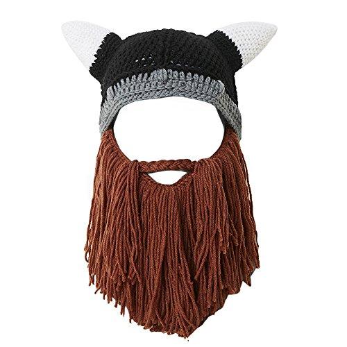 Lantra Besa Damen Herren Wikinger Piraten Cosplay Bartmütze Lustige Strickmütze mit Vollbart für Fasching Karneval...