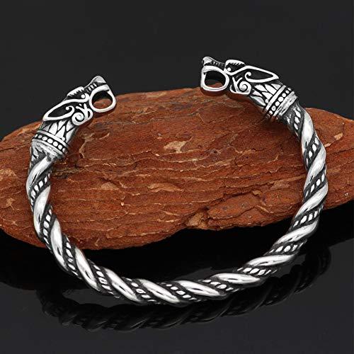 QZY Edelstahl Zweifarbige Perlen Spirale Wolf Kopf Torc Armband Armreif, Nordische Mythologie Wikinger Retro Solide...