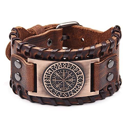 HLARK Wikinger Armbänder Vegvisir Campass Breit Manschette Leder Armband Vintage Nordic Runen Amulett Wikinger Herren...