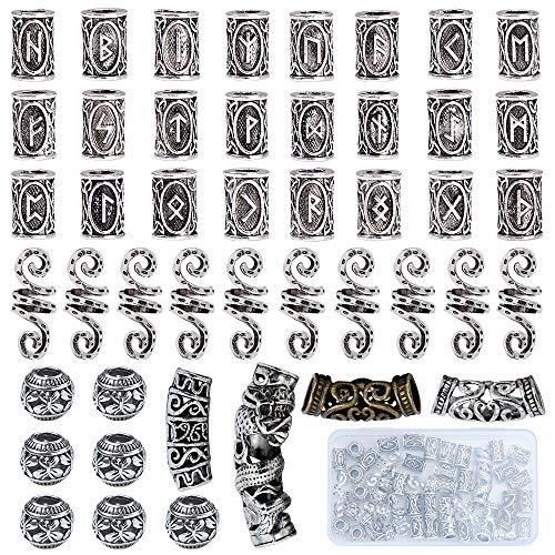YMHPRIDE 45 Stücke Wikinger Bart Perlen Antike Nordische Haarschlauch Perlen Dreadlocks Perlen für Haar Flechten...