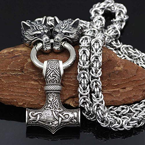 NICEWL Raben Von Odin Mit Thors Hammer Mjölnir Anhänger Halskette-Wikinger Metall Wolfskopf Kettenschnur, Nordische...
